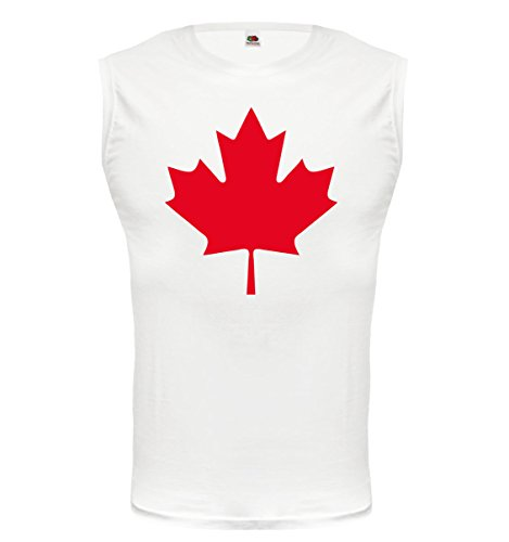 Tank Top Canada Flag Full Size-L-White-Red