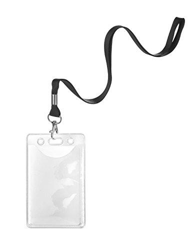Karteo® Ausweishülle mit Schlüsselband | Schutzhülle vertikal | Lanyard schwarz mit Karabinerhaken