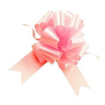 Confezione da 50 pz coccarde rosa autotiranti gran fiocco, nastro da 3,1 cm, per nascita bimba
