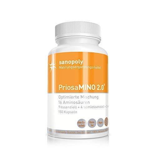 PriosaMINO® 2.0 |16 essentielle, semi- und nonessentielle Aminosäuren | geprüfte Qualität | vegan | 150 Kapseln