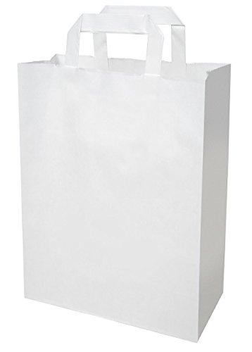 250 Papiertragetaschen Papier tüte groß in weiß 32+12x40 cm - good4food