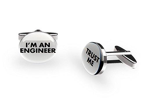 Ingénieur Boutons de manchette ('Trust Me' Job Boutons de manchette avec boîte cadeau)