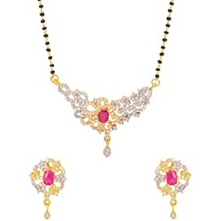 Voylla Filigree Cutout Mangalsutra Set with Red Gemstone