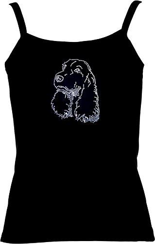 elegantes Shirt für Damen Strass Hundemotiv aus Strass kristall süsser Cocker Spaniel Weiß