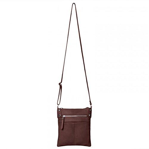 CASPAR Damen Ledertasche   Umhängetasche   Messenger Bag mit vielen Fächern  aus weichem italienischem Leder ... 4060420ccb