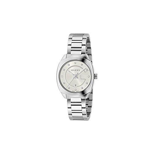 GUCCI Orologio Donna nero argento 12 diamanti 29mm YA142503
