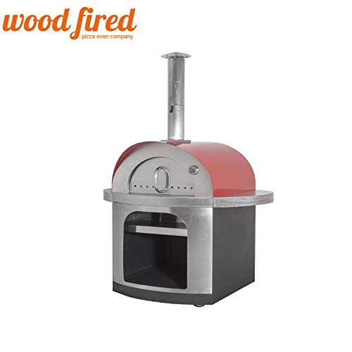 Florence Wood Fired Pizza Oven In Red With Stainless Steel Chimney And Body