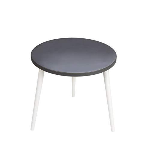SemUp Table Basse Ronde en Bois avec Plateau en Graphite en Quelques Motifs scandinaves Naveen, Bois Dense, Blanc, 47 cm Height