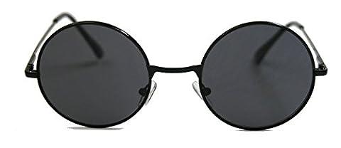 Retro Sonnenbrille Damen Herren Nickelbrille rund Lennon Style Metall Rahmen Farbwahl (Schwarz /