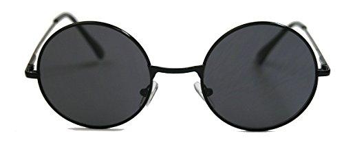 Retro Sonnenbrille Damen Herren Nickelbrille rund Lennon Style Metall Rahmen Farbwahl (Schwarz / Smoke)