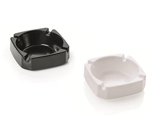 Kerafactum® - Set Aschenbecher für Draußen und Innen Ascher Doppelpack aus Melamin mit je 4 Auflagen, Spülmaschinenfest Bruchfest und Witterungsbeständig - Stapelbar