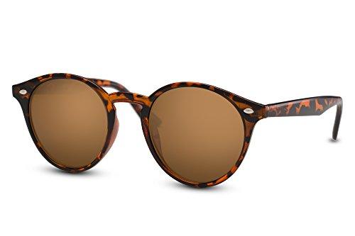 Cheapass Sonnenbrille Braun Runde Brille Schwarz Leo-Print UV-400 Retro Damen Herren (Print-damen-sonnenbrillen)
