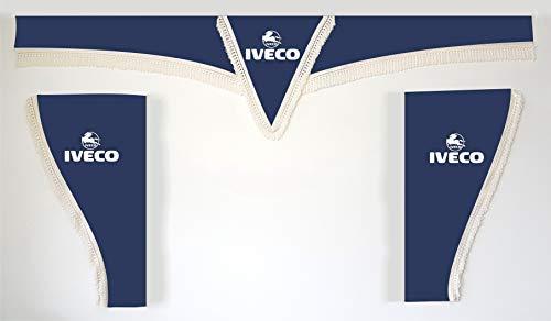 Générique Lot de 3 Bleu Rideaux Blanc avec Cordes Taille Universelle Camion Tous Les modèles Accessoires Décoration Tissu Peluche