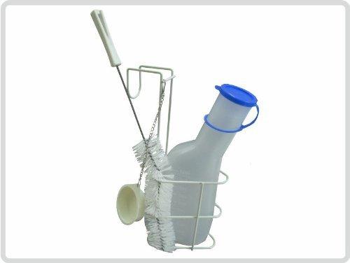 Urinflaschen-Set, Urinflasche mit Bürste und Halterung, milchig