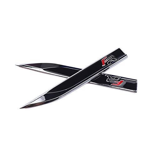 YEE PIN SEAT FR Emblem Aufkleber Verchromt Abzeichen Karosserie Seite Aufkleber Fender für Leon Tarraco Ateca Ibiza Altea FR Logo Car Styling Dekorative Zubehör (2 Stücke) (Schwarz)