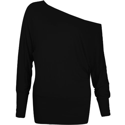 FLIRTY WARDROBE - Maglia batwing asimmetrica, maniche lunghe, da donna, varie taglie disponibili Black Large