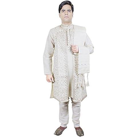 4 piezas sherwani kurta pijama de los hombres robaron conjunto blanco aniversario