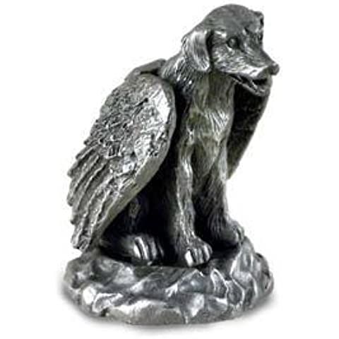 Estaño ángel estatuilla Estatua perro Labrador Retriever