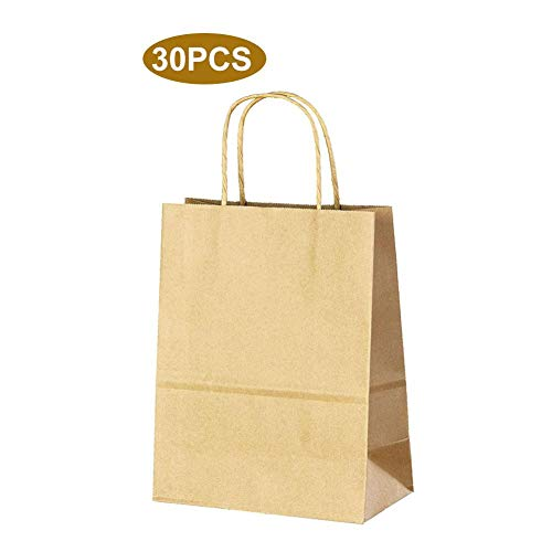 Holywonder 30 PCS Reusable Brown Kraft Paper Bags with Handles for Shopping Lunch Retail Gift Party Paper Tote Bag