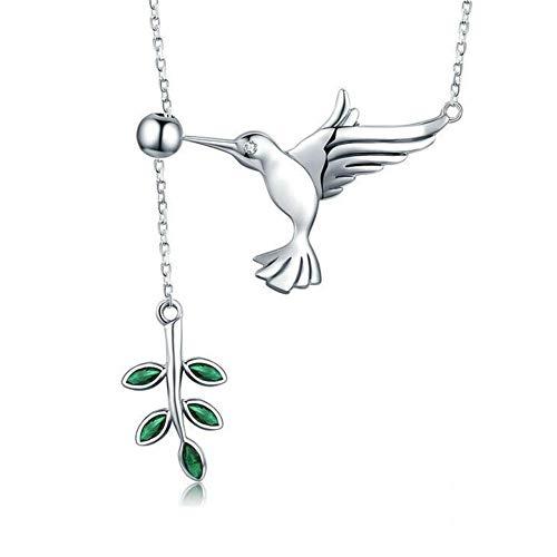 Damen Kette 925 Silber Anhänger Halskette \'\'Kolibri-Grüße Verschiedene Längen: 38cm-45cm,Geschenk für Damen/Frau/Freundin/Tochter