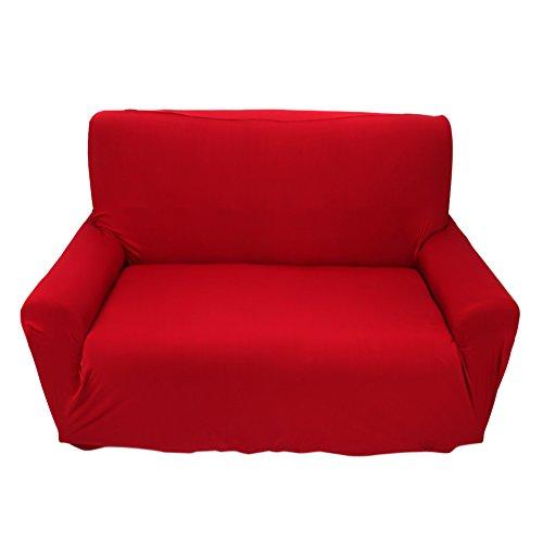 Fundas de sofá de 2 plazas 7 colores sólidos Funda de estiramiento completo Tejido elástico Soft Couch Cover Sofa Protector Muebles de casa ( Color : Borgoña )