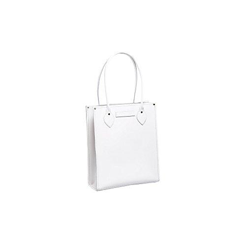 Zatchels Classic - Sac cabas en cuir (Fabrication britannique à la main) - Femme Blanc