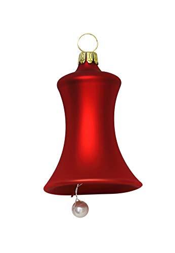 Glocken klein rot matt 3 Stück d 5cm Christbaumschmuck Weihnachtsbaumschmuck mundgeblasen Lauschaer Glas das Original