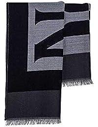 NAPAPIJRI Uomo - Sciarpa in lana con maxi logo in grigio e nero b64595617a92