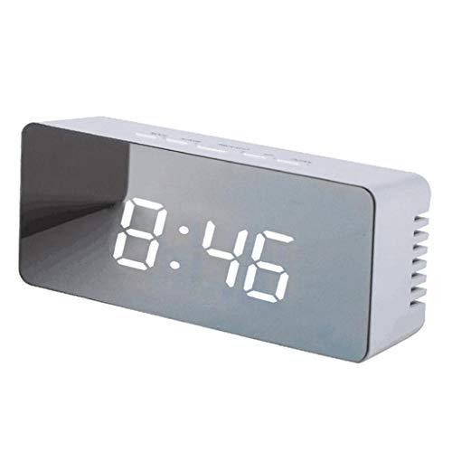 Clock- LED Wecker Elektronische Digitale Wecker Tragbare Dekorative Spiegel Alarm Snooze Funktion Tisch Schlafzimmer BüRo Akku Dual-Use 5,5 Zoll 01