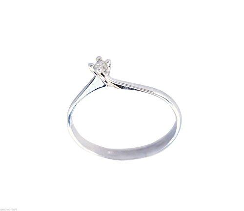 Anello Donna Fidanzamento Solitario Oro Bianco 18kt 750 Diamante 0,03CT F VVS - certificato di garanzia