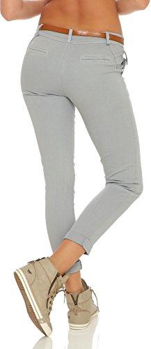 ZARMEXX femmes étirer un pantalon slim avec ceinture Chino Skinny Pantalons jeggings de couleurs gris clair