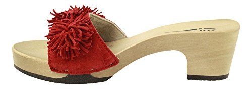 Softclox Pantolette mit Holzboden Rot