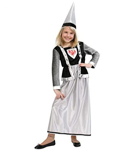 KarnevalsTeufel Kinderkostüm Burgfräulein 2-teilig Kleid und Hut in Silber-schwarz Mittelalter Prinzessin Zofe Adel (128) (Mittelalterliche Prinzessin Hut)