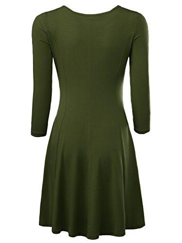 BAISHENGGT Damen Skaterkleid Rundhals 3/4-Arm Fattern Stretch Basic Kleider Grün
