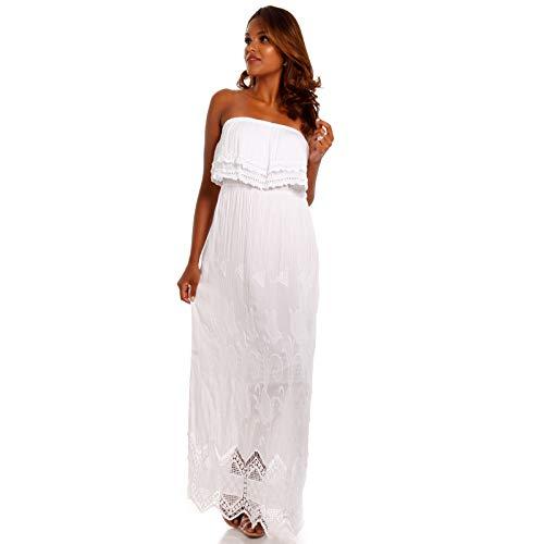 YC Fashion & Style Damen Maxikleid Bohemian Hippie Carmen Kleid mit Spitze Strandkleid Party Kleid (One Size, Weiß) -