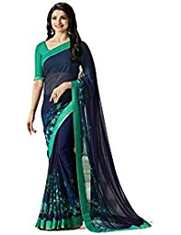 Rajeshwar Fashion Women's Georgette Printed Saree With Blouse Piece (A14 BLUE_Free Size)