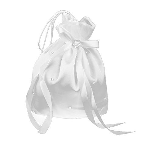 Gazechimp Satin Kristall Strass Hochzeit Brautbeutel Handtasche Weiß (Kristall-braut-handtasche)
