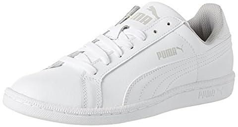 <p>Der Puma Smash Fun L Jr liegt mit seinem Tennis-Look absolut im Trend. Mit dem legendären Puma Formstripe und seinem soften Obermaterial aus Leder ist das ein klassischer Sneaker, der zu jedem Style passt.</p>, Weiß, 36