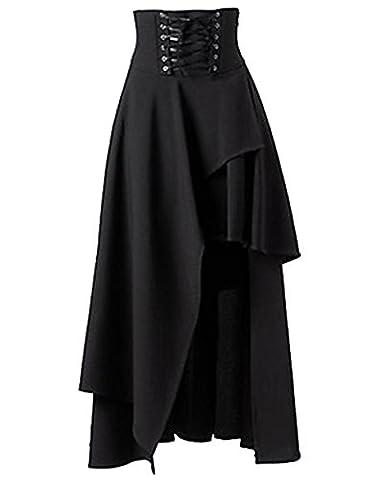 Damen Steampunk Gothic Kostüm Langer Rock Asymmetric Röcke Schwarz 2XL