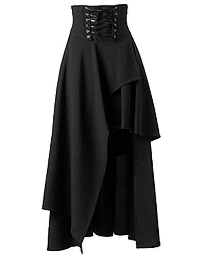Langer Rock Kostüme (Damen Steampunk Gothic Kostüm Langer Rock Asymmetric Röcke Schwarz)