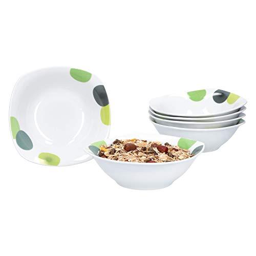 Retro-van (Van Well | 6er Set Müslischalen Rondo | 250-350 ml | Kleine Servier-Schüssel für Suppe, Salat, Snacks u. Dessert | abstrakte Retro-Kreise | edles Porzellan)