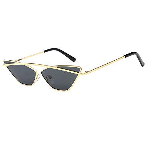 Yangjing-hl Dreieck cat Eye Sonnenbrille weiblich Rahmenlos Ozean stück Mode persönlichkeit Retro Sonnenbrille Gold Rahmen grau stück