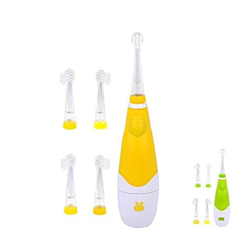 inkint Wasserdicht elektrische Zahnbührste mit Vibration und LED Licht 4 Austauschbare Bührstenköpfe für die 0-4 Kinder 30s Erinnerung 120s automatisch aufmachen (Sets Gelb)