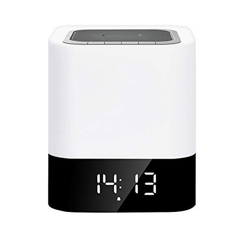 Nachtlicht -ABS/PP, Bluetooth-Verbindung, Touch-Dimming, Wecker klingelt, Uhranzeige, Kreatives Multifunktions-Smart Wireless-Audio-Aufladungsnachtlicht, Geeignet für Familien, Schlafzimmer, Nachtti 665 Wireless Bluetooth