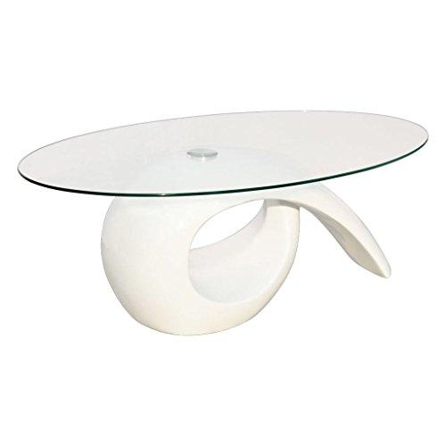 vidaXL Table basse brillante blanche avec plateau en verre 115 x 64 cm (Lo x La)