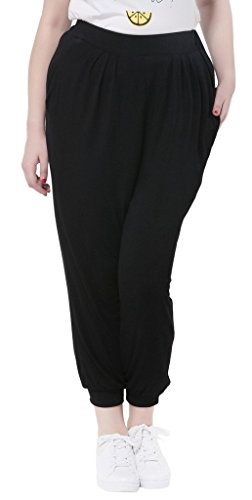 Bigood Pantalon Sport Femme Grande Taille Legging Hip-hop Casaul Plage Randonnée Running Noir