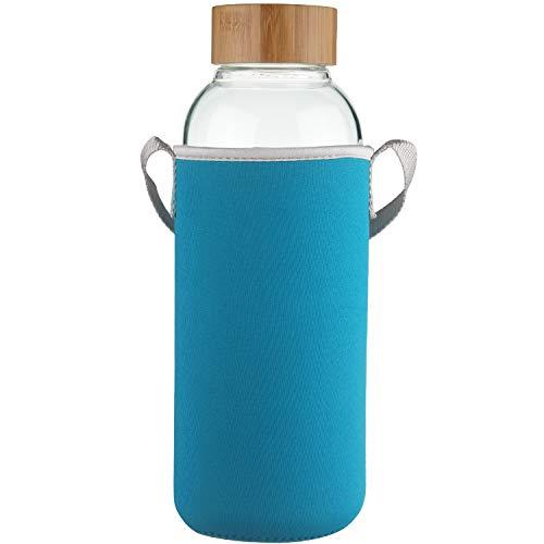Ferexer 1.5 Liter Sport Borosilikat Trinkflasche Glas Wasserflasche mit Bambus Deckel mit Neoprenhülle 1500 ml / 1.5 L