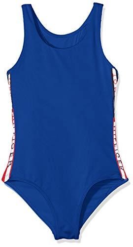 Tommy Hilfiger Mädchen Bügelloser Badeanzug SWIMSUIT, Blau (Surf The Web 405), 140 (Herstellergröße: 8-10)