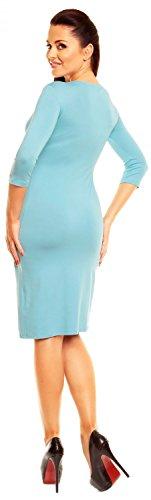 Zeta Ville - damen - Jersey Kleid - 3/4-ärmeliges - Elegantes Shirtkleid - 001z Hellblau