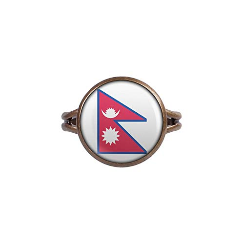 Mylery Ring mit Motiv Nepal Kathmandu Flagge bronze 14mm